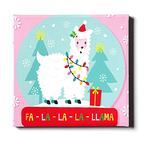 Mesllings Wandfarbe, 40 x 40 cm, Weihnachts-Lama-Globus Stoff, Wandkunst, Leinwand, dekoratives Gemälde, geeignet für Heimdekoration
