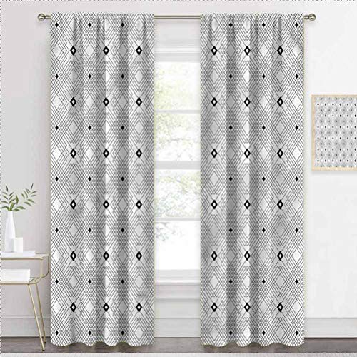 painting-home Rod Pocket Window Curtains Modern, Square and Lines Pattern Room Darkening Window Drapes Perfect for Any Room W55 x L39 Inch