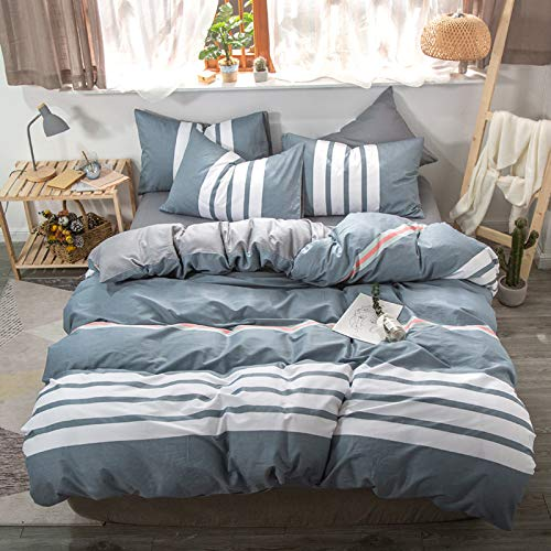 QXbecky Minimalist Pure Cotton Bedding 4-Piece Quilt Cover Sheet Bed Sheet Multicolor Small Fresh Cotton Bedding