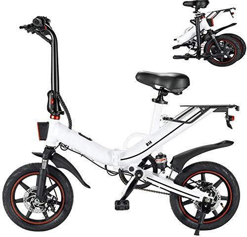 Autoshoppingcenter Bicicleta Eléctrica Plegable 400W 25km/h Ruedas de 14 Pulgadas Bicicleta de Ciudad/Montaña/Todoterreno Bateria de Litio 48V 10/15AH Marco de Aluminio Display LCD 3 Modos [EU Stock]