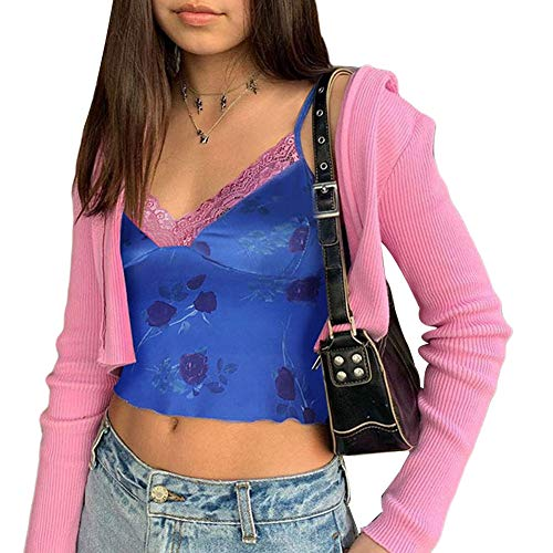 Women Lace Crop Top Sexy Strap Tank Top Backless Slim E-Girl Camis Sleeveless Summer See Through Camisole Top Shirt (Floral Blue, Small)