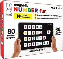 متعة الأرقام المغناطيسية بلاي بوكو - مع 80 مغناطيس أرقام، 64 مغناطيس للتشغيل، لوح مغناطيسي وكتاب معادلة - تعلم الأرقام...