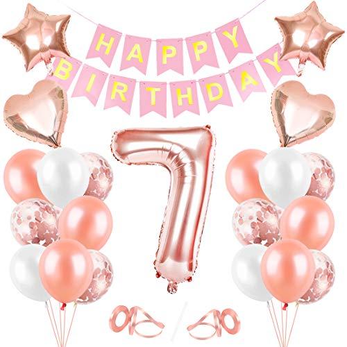Palloncini 7 Anni Compleanno, Oro Rosa Palloncini 7, Buon Compleanno Banner, Palloncini 7 Anni Compleanno Ragazza,Happy Birthday 7 Anno, Palloncini Trasparenti Coriandoli Oro Rosa Decorazioni Festa