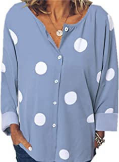TT WARE Women Casual Polka Dot Print Button Down Blouse-Blue-6