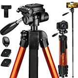 Victiv 72-inch Tall Tripod for Camera Phone, Durable Aluminum Stand Lightweight Monopod for YouTube Videos, Live Webcasts with 2 Quick Release Plates 12 lbs Load for Travel and Work - Orange