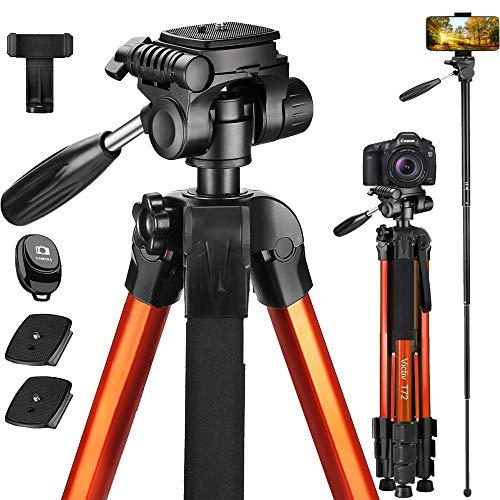 Victiv 72 inch Kamerastativ Aluminium Einbeinstativ T72 182 cm - Leicht und kompakt Reisestativ für unterwegs mit 360° Panorama Kugelkopf und 2 Schnellwechselplatte für Spiegelreflexkamera - Orange
