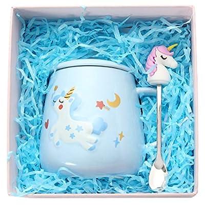 Amycute Kawaii Taza de café con unicornio, taza de unicornio con carcasa y cuchara, taza de café de unicornio, taza de cerámica para el hogar u oficina, regalos únicos, 400 ml (azul)