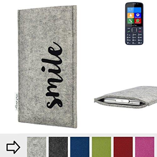 flat.design Handy Hülle FARO für bea-fon SL820 personalisierbare Handytasche Filz Tasche Case Smile fair