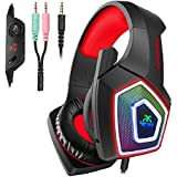 Hunterspider Gaming Headset for PS4,PC,Noise Cancelling Over Ear Headset with Microphone&LED Light,Gaming Headphones for Mobile Devices/Mac/Xbox one(Adapter Not Included)