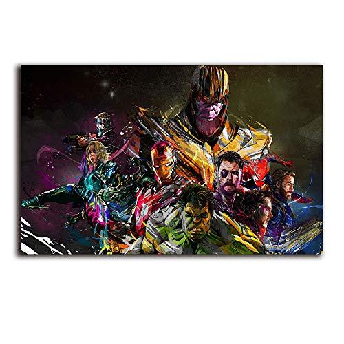 Megiri Superhero Poster Print Wall Art,Hulk Spider man Star Lord Oil Painting Reproduction 20x28 inch for Home Decoration
