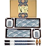 Package including: 2 sushi plates, 2 sauce dishes, 2 pairs of chopsticks and 2 chopsticks holders Fine frosted glaze has texture very much and hand painted waves water ripple Japanese classic simple and elegant style that highlights Japanese culture ...