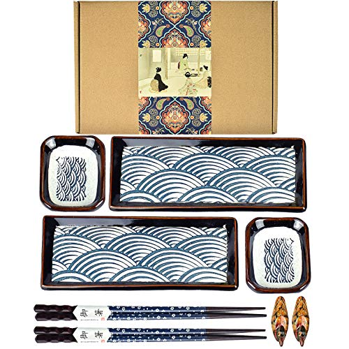 Artcome 8 Piece Japanese Style Ceramic Sushi Plate Dinnerware Set for Wedding Housewarming - 2 Sushi Plates, 2 Sauce Dishes, 2 Pairs of Chopsticks, 2 Chopsticks Holders