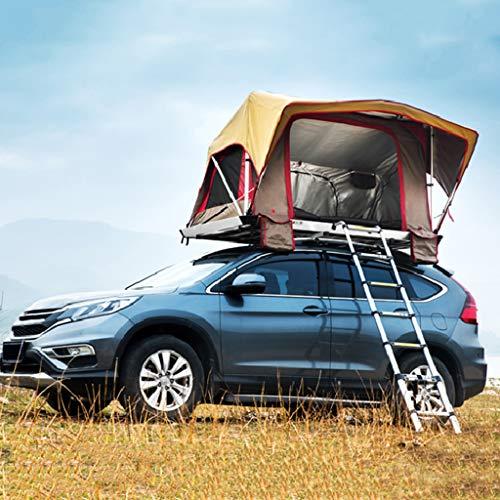 Zelt ADKINC Dachzelt, Dachhartschalenzelt Auto Pickup automatischem Druck für Camping Outdoor Familienurlaub Aktivitäten - mit Matratze & Leiter - Led Lichtleiste - 70 Lbs