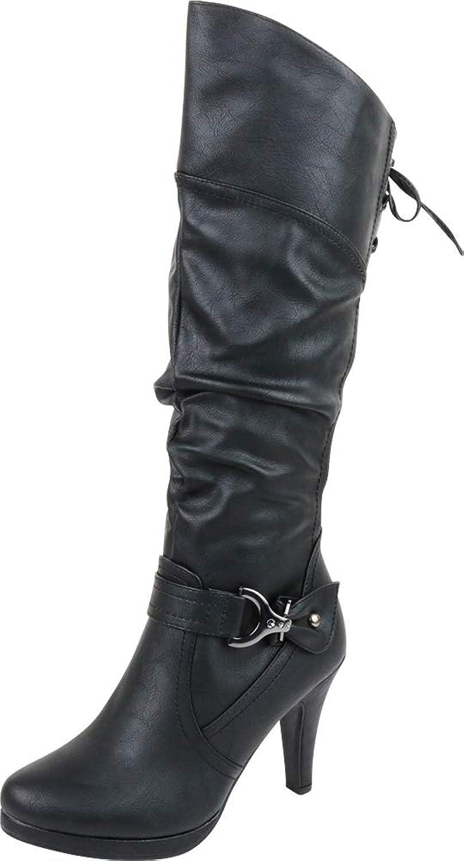 Cambridge Select Women's Back Corset Lace Platform High Heel Knee-High Boot