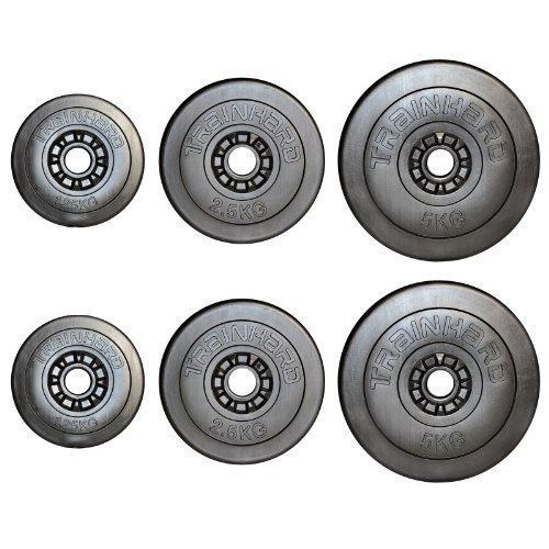 TrainHard Hantelscheiben Gewichte aus Kunststoff/Zement 17,5kg
