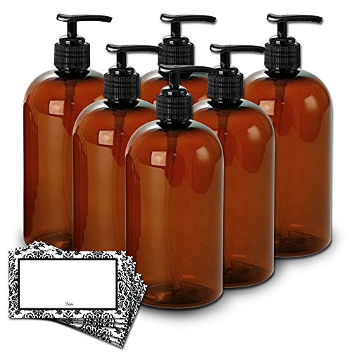 Baire Bottles - 8 Ounce Brown - Amber Plastic Bottles with Black Pumps -...