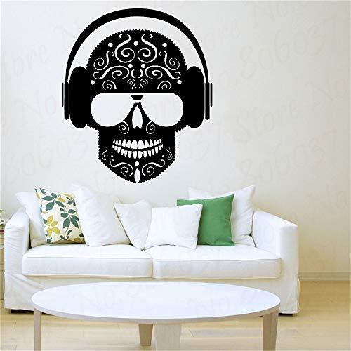 yaofale El último Arte Creativo Etiqueta de la Pared Música de Vinilo Cráneo Auriculares Música Sala de Estar Dormitorio Adolescente Decoración para el hogar Papel Tapiz