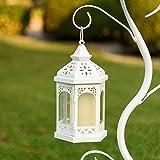 LuminalPark - Farolillo exagonal Blanco con Vela LED, Metal y Vidrio, h. 24,5 cm y Mando a Distancia multifunción para Decoración de Interior y Fiestas de Jardín
