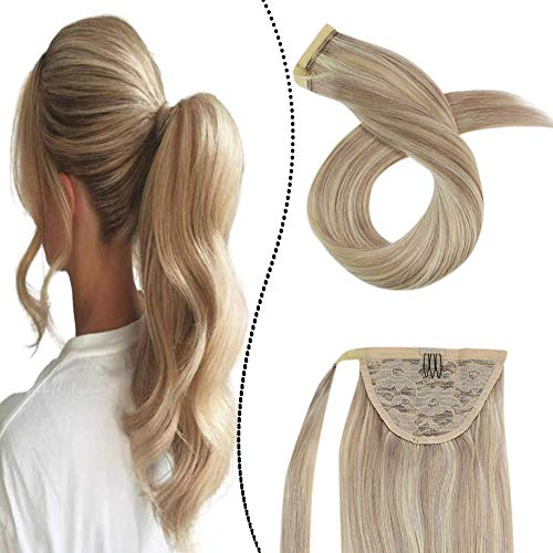 Extensions Pferdeschwanz Echthaar Remy Brasilianer Haarteile Zopf 60GR 16Zoll Clip-in Ponytail Wrap Around Haarverlangerung Easy Fit (Aschblond gemischt Gebleichtes Blond #P18/613)