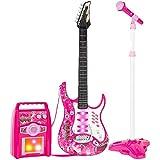 BAKAJI Chitarra Elettrica con Microfono Karaoke e Cassa Amplificatore AUX MP3 Giocattolo B...