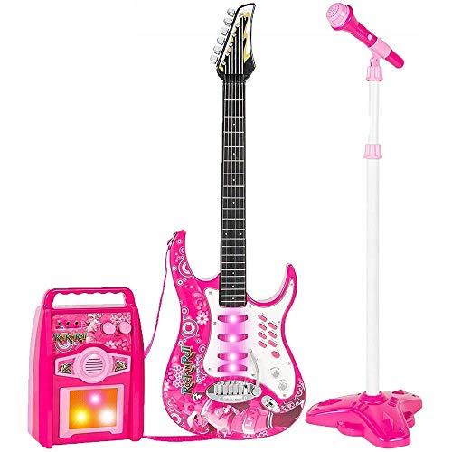 BAKAJI Chitarra Elettrica con Microfono Karaoke e Cassa Amplificatore AUX MP3 Giocattolo Bambini con Luci Effetti Sonori Musicali Musica Demo Tracolla e Asta Regolabile