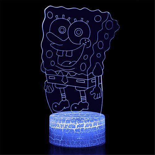 Lámpara nocturna 3D ilusión óptica 3D Bob Esponja Squarepants 16 colores que cambian de acrílico LED luz nocturna para niños y niñas como en cumpleaños o vacaciones