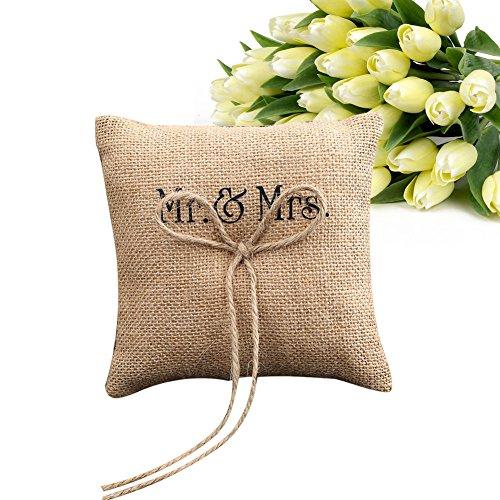 ZREAL Oreiller Anneau de Mariage Coussin d anneau Mr & Mme Burlap Jute Bow Ficelle Rustique Anneau De Mariage Oreiller 15 cm * 15 cm
