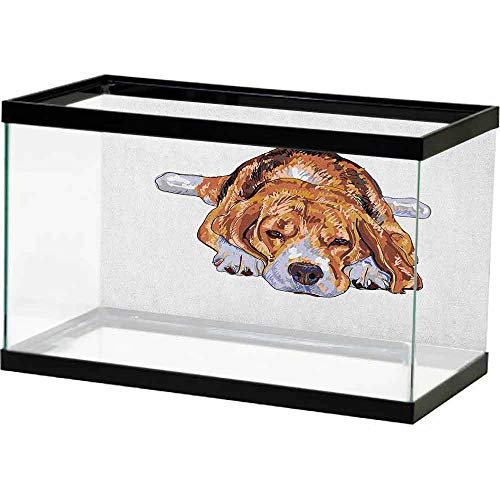 homecoco Fish Tank Sticker Background 10 Gallon Beagle,Old Dog Resting Sleeping Tired Puppy Short Haired Purebred Sketch Art, Brown Baby Blue White Underwater Backdrop