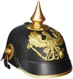 Material: Pickelhaub Helmet includes, 100% Premium quality plastic and solid brass accents and fittings. Easily Fits: German style helmet includes the dimension of 10.3 x 7.5 x 4.9 inches which can easily fit. Durable: Plastic german helmet costume h...