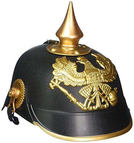 Forum Novelties - German Officer Pickelhaub Helmet - Plastic Imperial Prussian Helmet - Black & Gold Colored