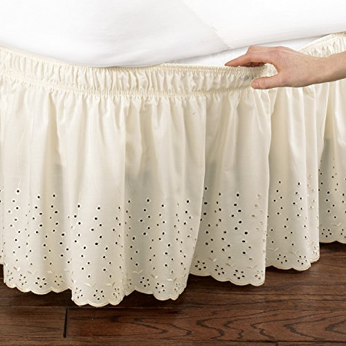 Collections Etc Eyelet Floral Scalloped Elastic Dust Ruffle Bed Skirt, Wrap-Around Easy Fit Design, Ivory, Twin/Full