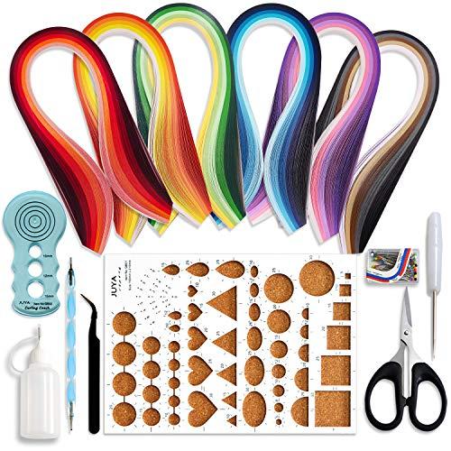 JUYA Papier Quilling Kits mit 30 Farben 600 Strips und 8 Werkzeuge Blau-Werkzeuge, Papierbreite 3mm