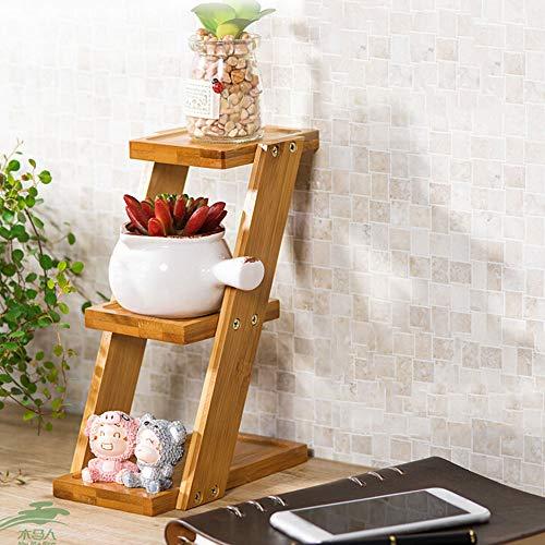 lulalula Étagère à fleurs pliable à 3 niveaux en bois pour plantes succulentes, bonsaï, décoration moderne pour la maison, le balcon, la salle de bain, convient pour l'extérieur et l'intérieur