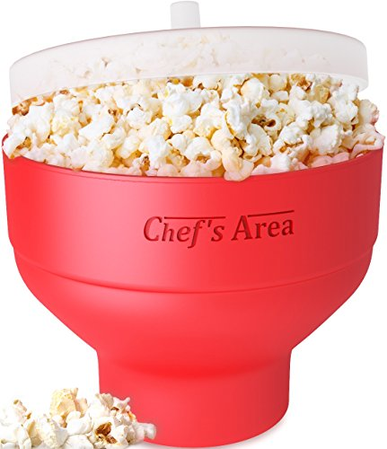Silicone Microwave Popcorn Popper/Popcorn Maker, Red Collapsible Popcorn Bowl with lid for home - BPA free - for Healthy Homemade Butter & Oil-Free Recipes - by Chef's Area