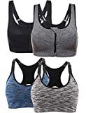 DOXIU Women Sports Bras Workout Yoga Gym Seamless Bra Sets, Wirefree, Padded, Adjustable, Pack of 4 Pieces, 2 Styles, L