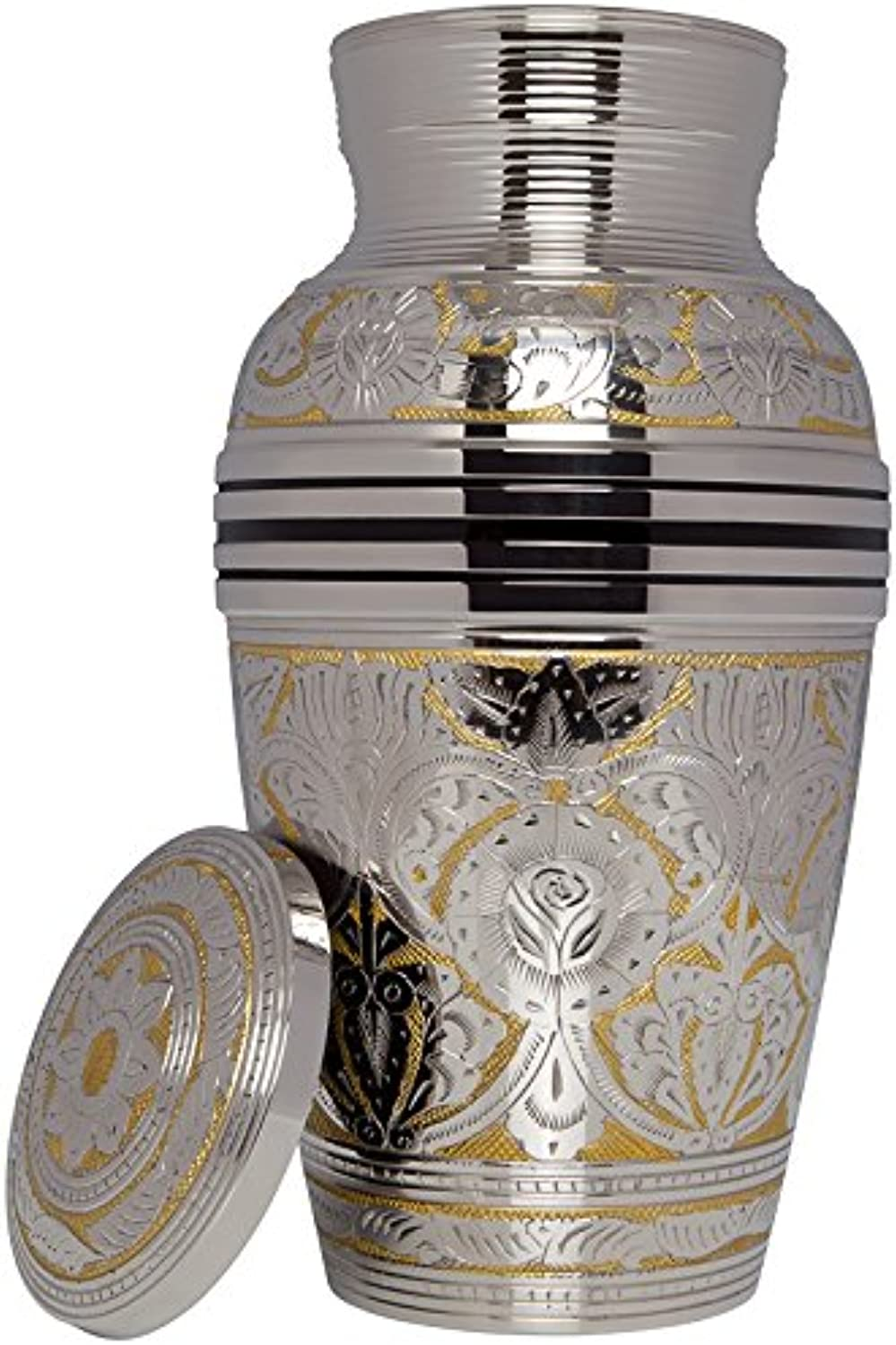 Silver Funeral Urn by Liliane Memorials - Cremation Urn for Human Ashes - Hand Made in Brass - Suitable for Cemetery Burial or Niche - Large Size fits remains of Adults up to 200 lbs - Rimini Model