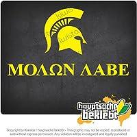 スパルタンのヘルメットプロファイル - Molon Labe Spartan helmet profile - Molon Labe 18cm x 10cm 15色 - ネオン+クロム! ステッカービニールオートバイ