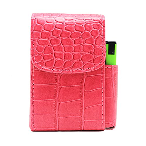 Boshiho PU Leather Cigarette Case with Lighter Holder Tobacco Pouch Best Gift for Men Women (Hot Pink)
