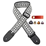 RAYNA Black-gray retro woven guitar strap -3 picks + strap lock + pick box. for bass,electric and acoustic guitar accessories