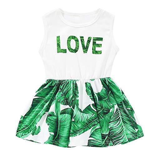 puseky Baby Kids Girl LOVE Lettre Robe imprimée à fleurs Robe courte à volants en été (Color : Green, Size : 3-4T)