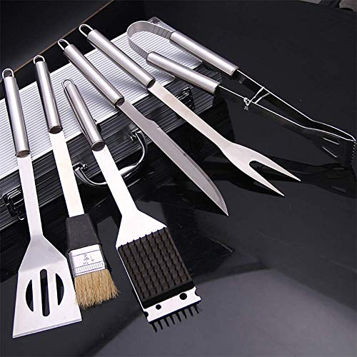 Find Bargain Heavy Duty BBQ Grilling Tools Set. Extra Thick Stainless Steel Fork, Basting Brush & To...