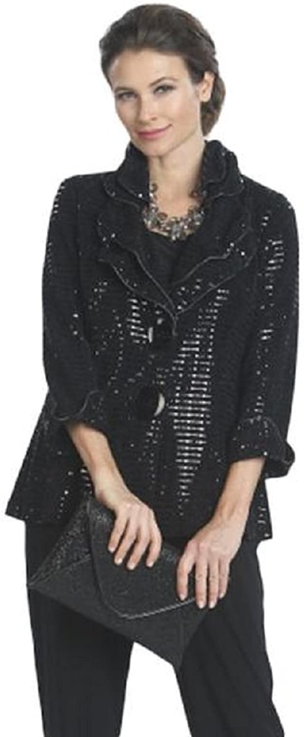 IC Collection Holiday Christmas Shimmer Jacket in Black  5174J