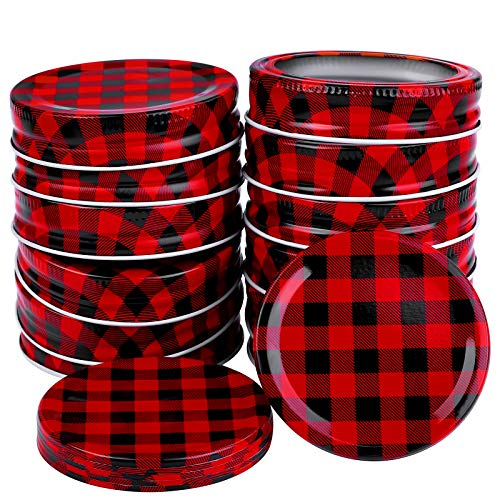 Ruisita 12 Pieces Regular Mouth Mason Jar Lids 6 Set Split-type Lids Rings and Bands and 6 Pieces Tin Solid Caps for Christmas Mason Jar Lid Ornaments