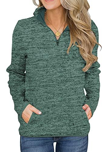 Aleumdr Women 1/4 Zipper Sweatshirt Long Sleeves High Collar Pullover...
