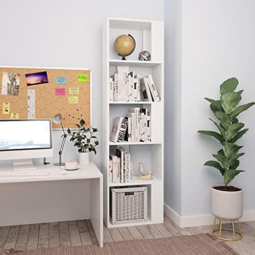 Warmliving Estantería/Separador de Ambientes Aglomerado Estantería Librería Comedor Salón Diseño Moderno (45x24x159cm, Blanco)