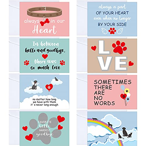 Fainne 16 Sets Pet Sympathy Cards Dog Condolences Cards Pet Bereavement Card and Envelopes Loss of Pet Sympathy Cards with Inside Messages for Pet Lovers