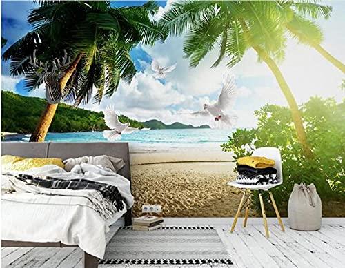 Custom 3d Blue Sky y White Clouds Seascape Wallpaper Coconut...