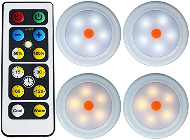 JCHUNL 2 stücke 4 stücke Fernbedienung LED LED LED Schrank Kleiderschrank Lichter Batterie Weiß Warmweiß Dimmbar Timing New Hot (Farbe   4) B07NV8V3JV | Modern  8c3bea