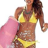 TEYUN Halter Atractivo del Traje de baño Suave Hueco de Las Mujeres, elástico, Transpirable Bikini de Monokini (Color : Yellow, Size : M)