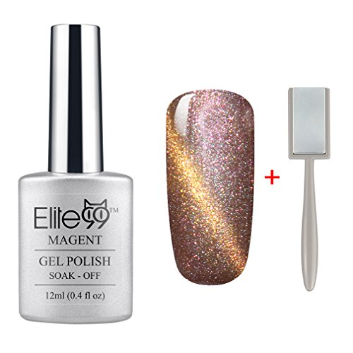 Elite99 3D Nail Gel Polish Magnetic Cat Eye Color 12ml Soak Off UV LED Pearl Rose Gold with Gold Eye(9911) + Free Gift (Magnet Stick)